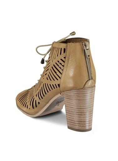 Marjin %100 Deri Topuklu Ayakkabı Vizon